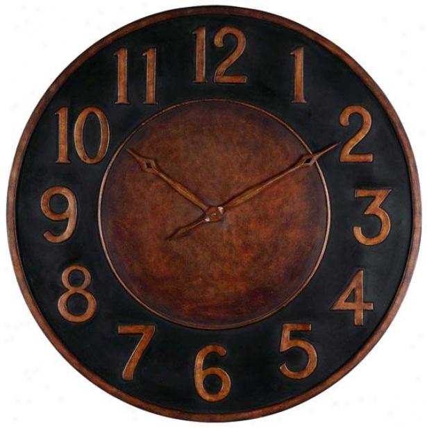 """""""matera Wall Clock - 36 X 36 X 1.25"""""""", Gldn Brz/black"""""""