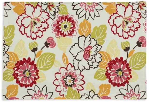 """maya Collection Placemats - Lined Place Mat, 12.5x19""""x, Maya Poppy"""