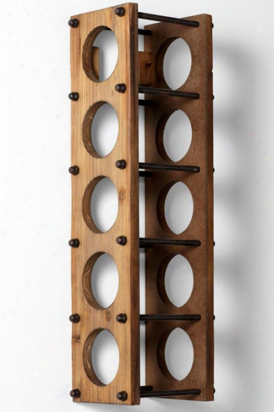 Medford Wine Holder - 24.75hx6w, Brown Wood