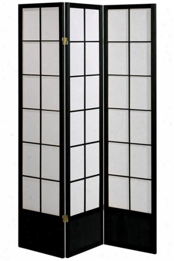 """meditation 71""""h Three-panel Shoji Apartment Divider - 3-panel, Mourning"""