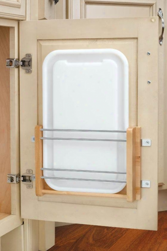 """medium Door Mount Polymer Cutting Board - 16.25x12.25x2""""d, Wood/white"""