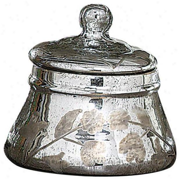"""mercury Glass Jar With Lid - 6.5""""hx6.5""""round, Silver"""