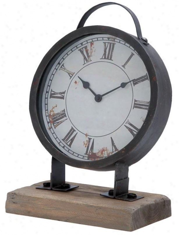 Metal Desk Clock - 14hx9w, Black