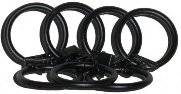 Metal Drapery Rings - Set Of 7 - Set Of Seven, Black