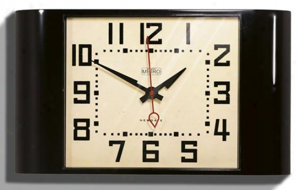 """metro Wall Clock - 10h X 17.5wx3""""d, Black"""
