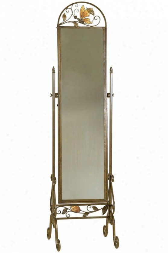 """milton Full Length Mirror On Stand - 71.5""""hx19""""w, Aged Gold"""