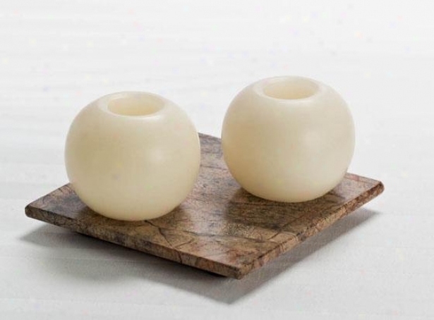 Mini Sphere Flameless Candles - Set Of 2 - 2-ppack, Ivory