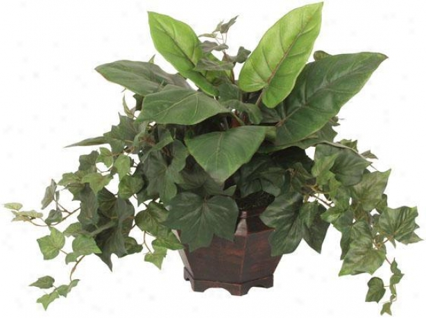"""mixed Leaves Arrangement - 16""""hx14""""w, Green"""