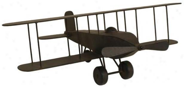 Model Airplane Figurine - 11h X 24w X 31d, Brown Metal