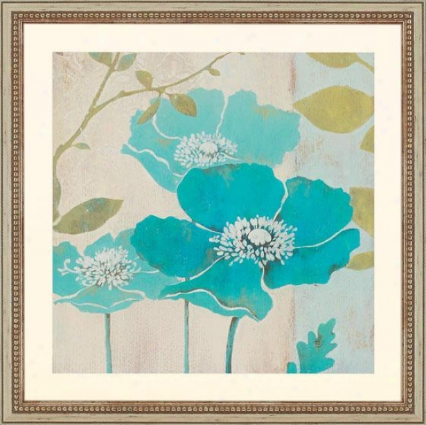 """modern Blue Poppy - 26"""" Square, Blue"""
