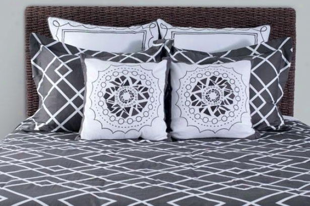Modern Twist Geometric Duvet Set - King 9pc Set, Steel Grey
