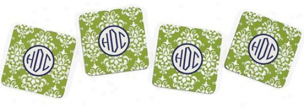 Monogram Coasters - Set Of 4 - 4piece, Green