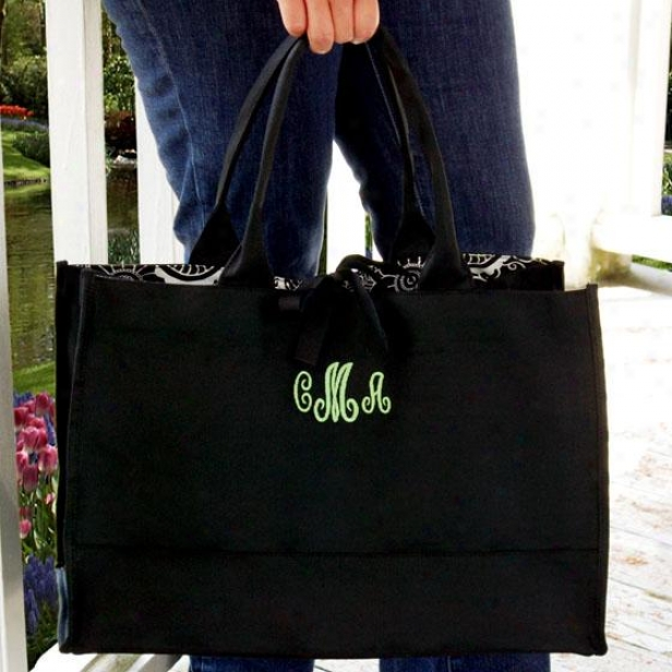 """monogram Damask Tote Bag - 18 X 12 X 8.5"""", Black/apple Grn"""