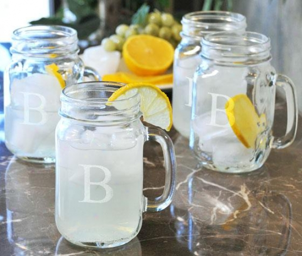 Monogram Drinking Jars - Set Of 4 - 16.5oz/set Of 4, F