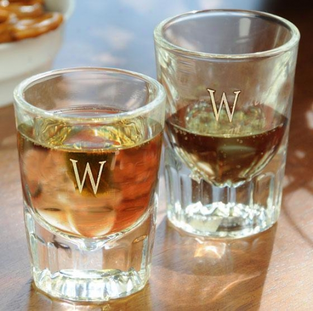 Monogram Grooved Shot Glasses - Set Of 2 - 2oz/set Of 2, X