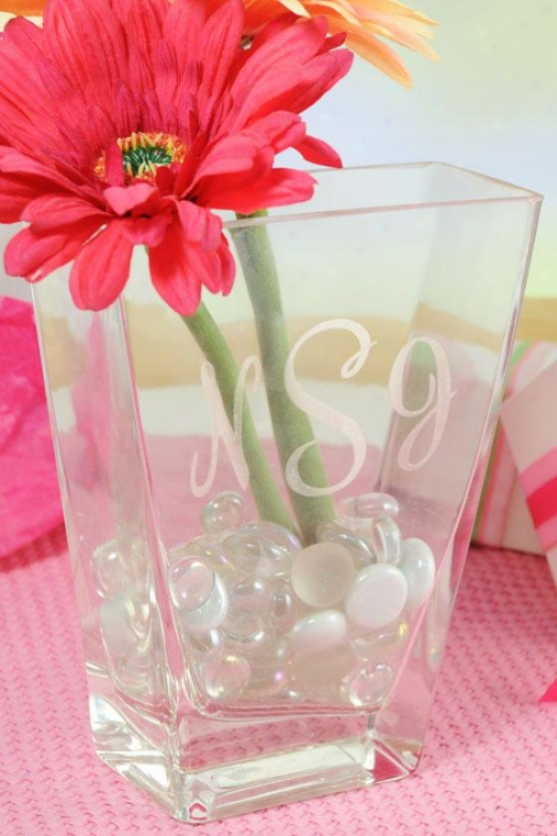 """monogram Friendship Vase - 6 X 4.75 X 2"""""", Clear"""