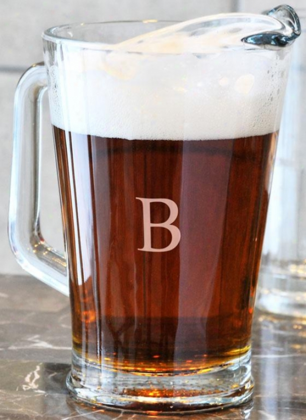 Monogram Glass Pitcher - 60 Oz, W