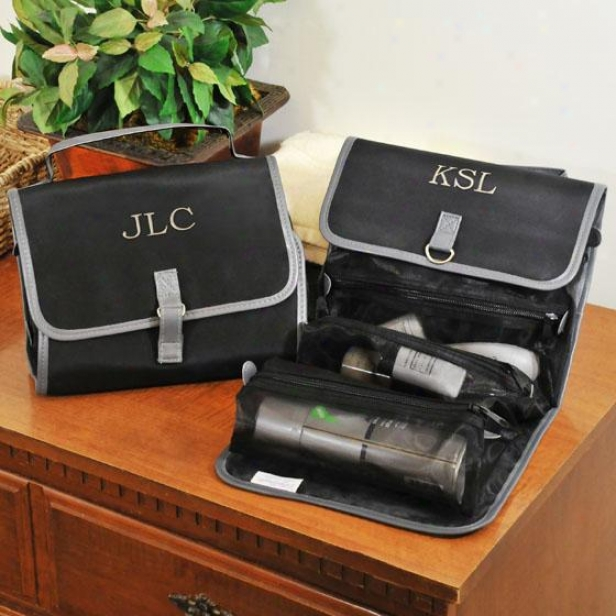 """monogram Micro-fiber Toiletry Bag - 9 X 9.25"""", Black"""