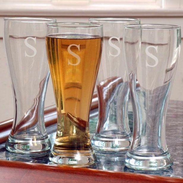 Monogram Pilsner Glasses - Set Of 4 - 20oz, K