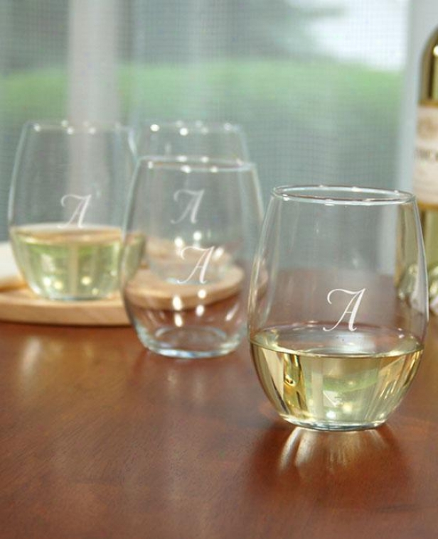 Monogram Stemless Wine Glasses - Set Of 4 - 21oz,-W/out Monogram