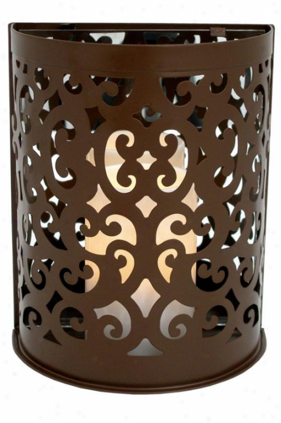 Montrose Scroll Sconce Flwmeless Candle - 8.5hx 7.25w X 4, Brown