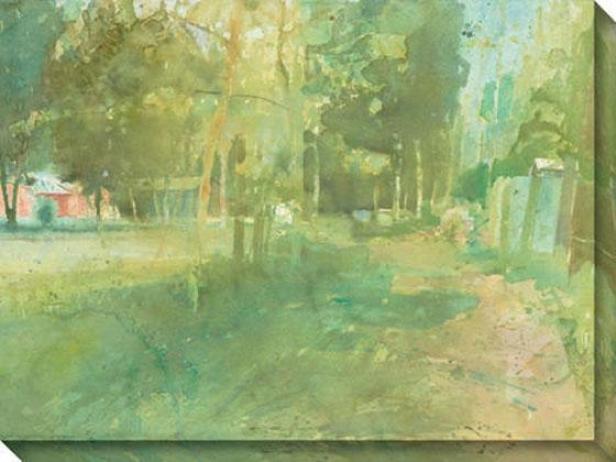 """morning Is Heavy Canvas Wall Art - 48""""hx36""""w, Green"""