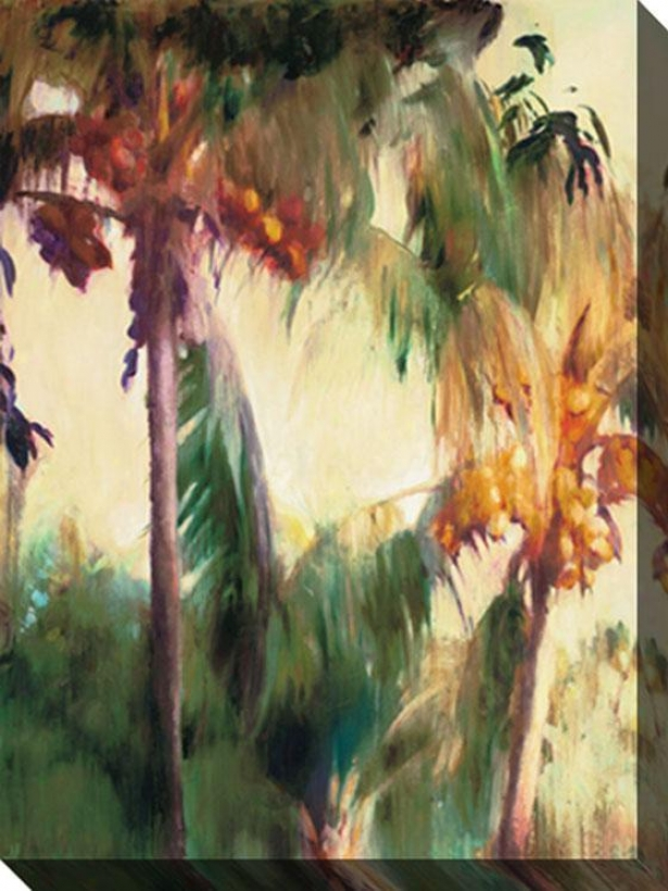"""morning Palms Canvas Wall Art - 48""""hx34""""w, Tan/green"""