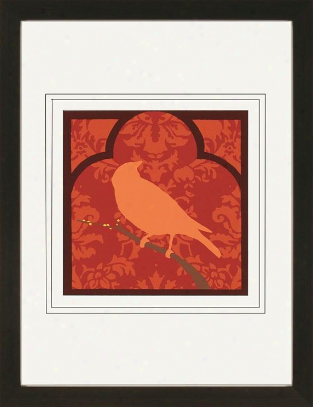 Moroccan Skngbird Framed Art Print - Ii, Red