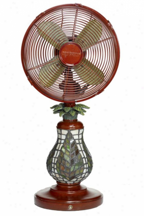 """mosaic Glass Table Top Fan - 25""""h X 10""""d, Ferns"""
