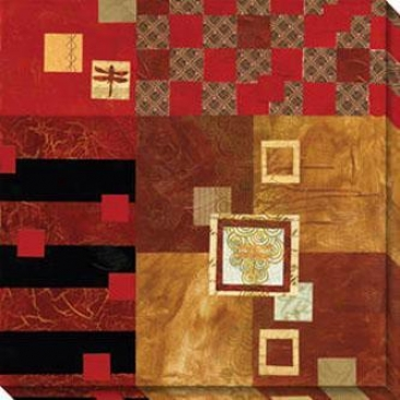 Moving Layers And Squares I Canvas Wall Art - I, Red