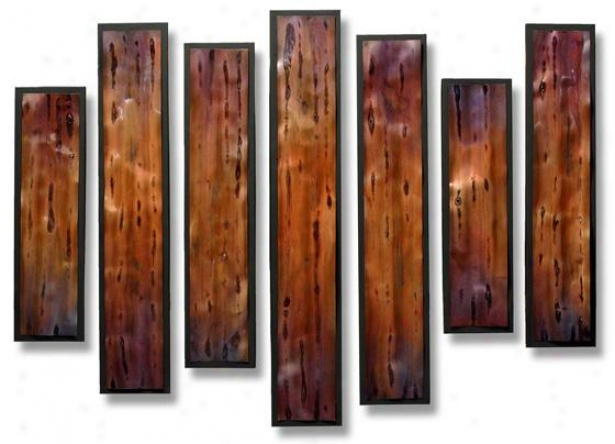 Multiplicity Wall Sculpture - Set Of 7 - S/7 46hx36wx2d, Copper
