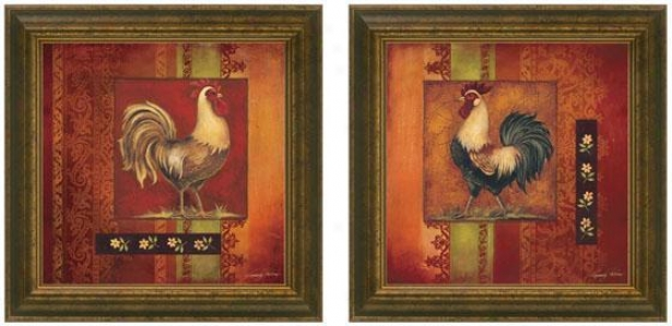 Murano Cock Framed Wall Art - Set Of 2 - Set Of Two, Burgundy