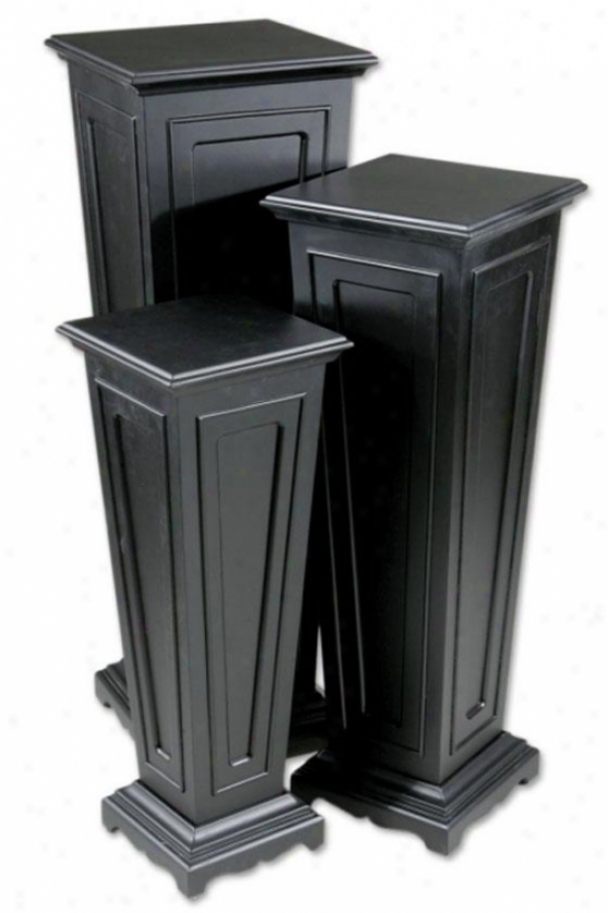 Murcia Plant Stands - Set Of 3 - Set Of Three, Black