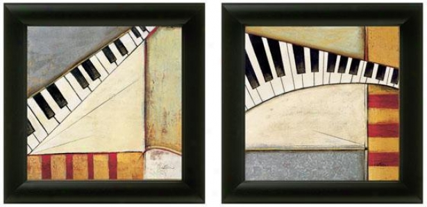 Music Notes Framed Wall Art - Set Of 2 - Set Of Two, Black