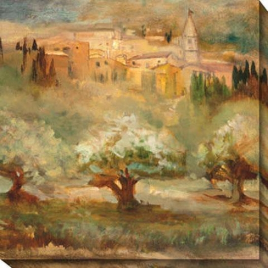 """""""my Tra\/els To Montalcino Canvas Wall Art - 40""""""""hx40""""""""w, Gold"""""""
