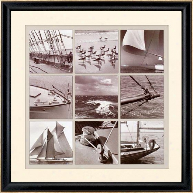 """""""mystic Seaport Montage Framed Wall Art - 41""""""""square X 2""""""""d, Black & White"""""""