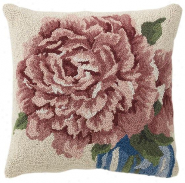 """naomi Hooked Pillow - 18"""" Square, Pink"""