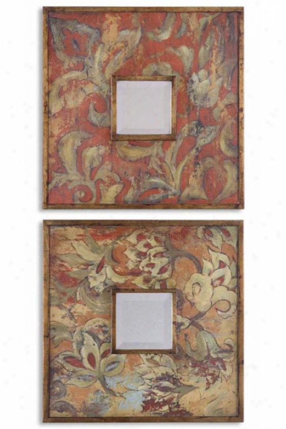 """naples Mirror - Set Of 2 - Set/2 19""""sq Eac, Multi"""