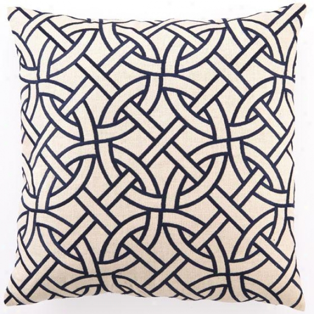 """navy Embroidered Pillow - 20""""hx20""""wx2.5""""d, Navy Circle Lin"""