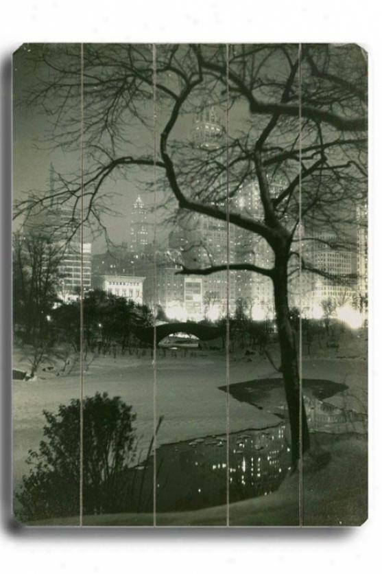 """new York City Central Park Woodne Sign - 20""""h X 14""""w, Black"""