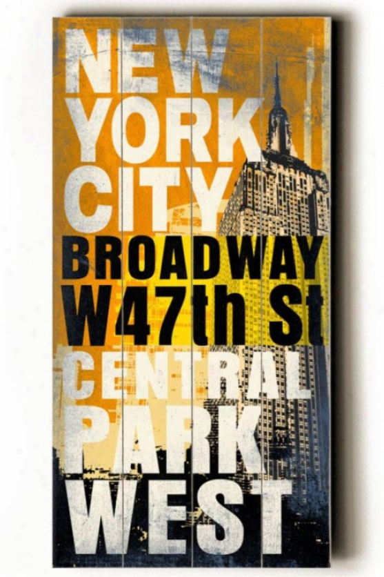 """new York City Transit Sign Wall Plaque - 24h X 10""""w, Yellow"""