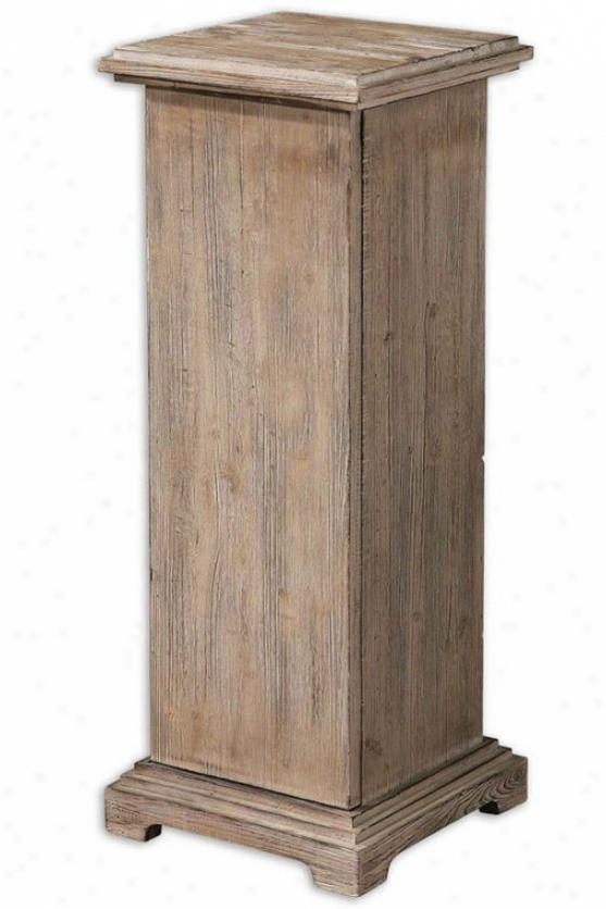 Nicosia Pedestal - 33hx13w, Natural Wood