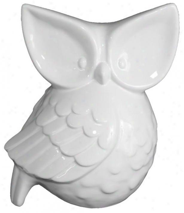 Night-eye Owl - 10h X 9w X 6.5d, White