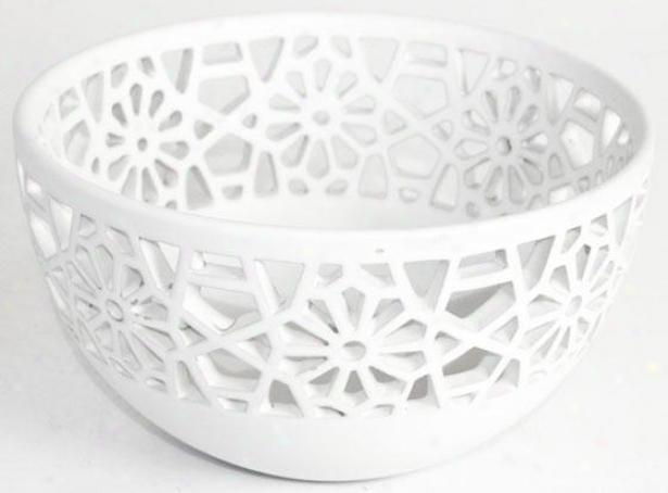 """nolan Pierced Ceramic Bowl - 5.5h X 9.5""""rd, White"""