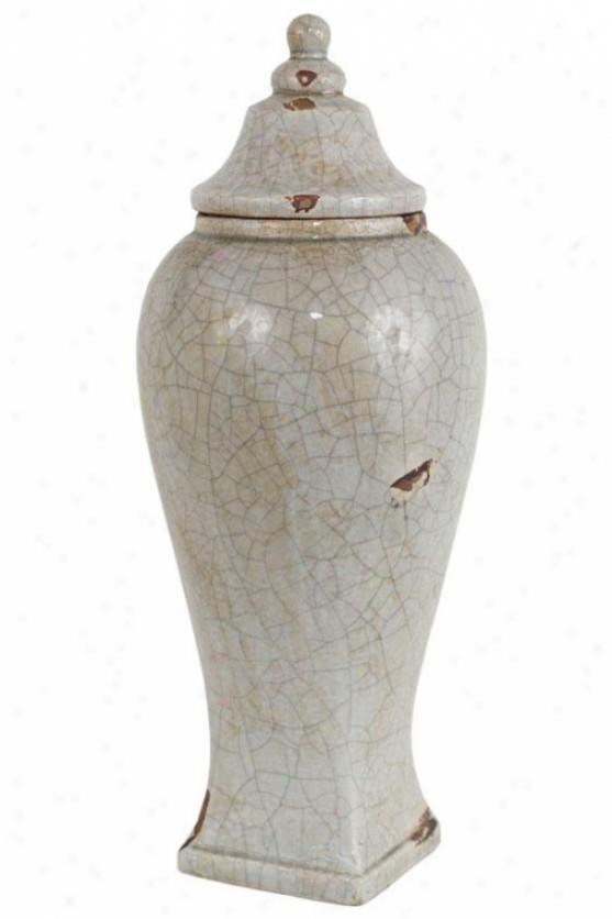 """""""nora Ceramic Sqquare Antique Urn - 16""""""""h Quick, Antiqued Ivory"""""""