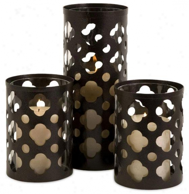 Norte Cutwork Candleholders - Set Of 3 - Set Of Three, Brown