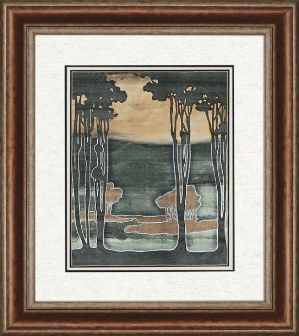 Nouveau Trees Framed Wall Art Collection -I , Forest Green