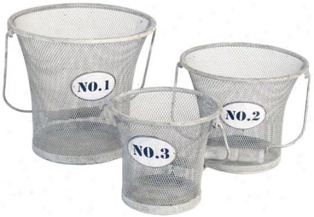 Numbered Mesh Baskets - Set Of 3 - Set Of Three, Gray