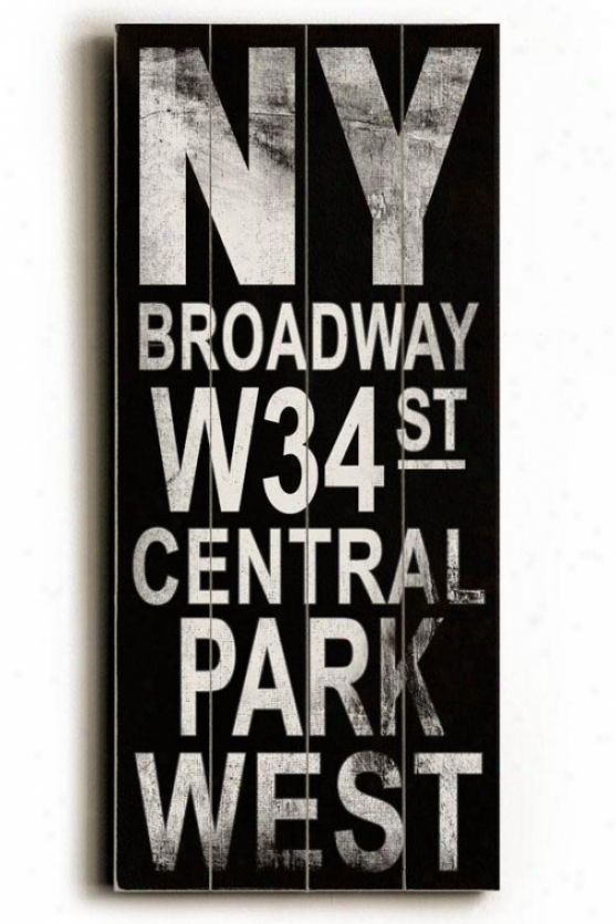"""ny Broadway Transit Sign Wall Plaque - 24h X 10""""w, Boack"""