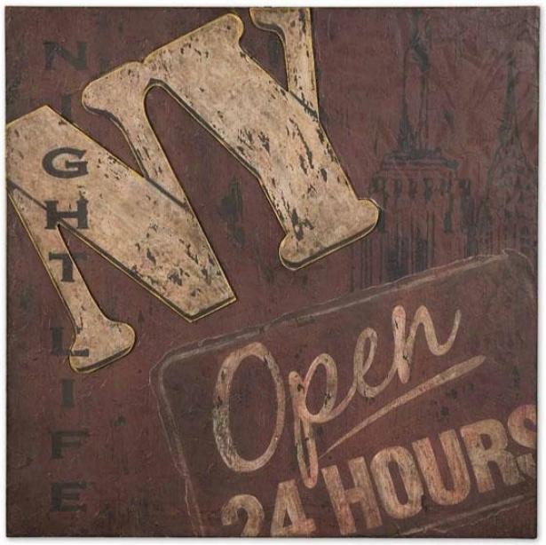 """ny Nightlife Wall Art - 24""""hx24""""w, Brown"""